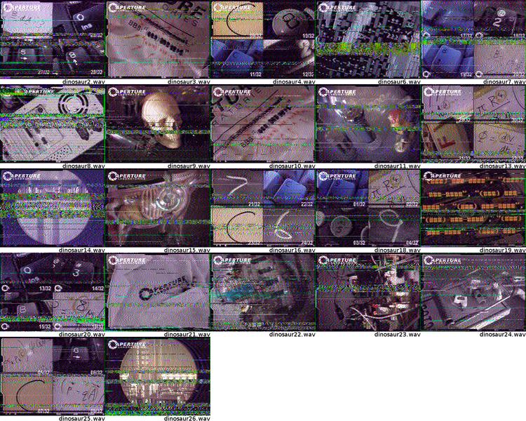 """Todas las imágenes escondidas dentro del juego """"Portal 2"""". https://en.wikipedia.org/wiki/File:Portal-2-ARG-SSTV-Images.png"""
